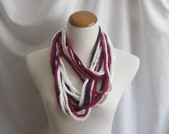 Infinity Crochet Scarf Cowl Cotton Necklace - White with a Touch of Raspberry and Purple