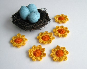 6 Thread Crochet Flowers - Cone Centers with Pedals - Orange and Golden Yellow (Set of 6)