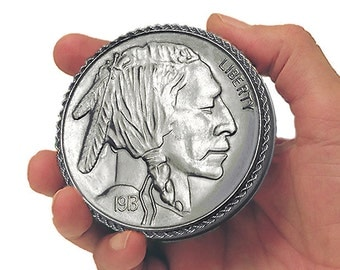 """1913 Indian Head Nickle - B I G  3"""" - COIN Treasure, Trinket & Stash Box. Classic • Includes A Free Gift !!! • A Very Limited Edition!"""