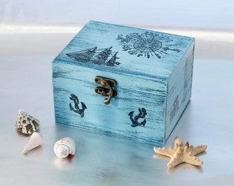 Sea Treasury Pirate Wooden Box, Keepsake box, Memory box, Blue box, Treasury  Box ,  Jewelry box ,   ohtteam