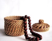 Harvest time decor Woven jewelry chest Wicker treasur box Eco friendly gift Ethnic home decor Wicker sugar basin