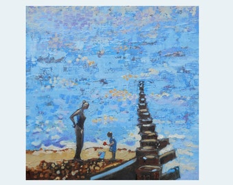 "Seaside Oil Painting. Mother and Child. Beach Art 12"" x 12"". Impasto Impressionist Painting."