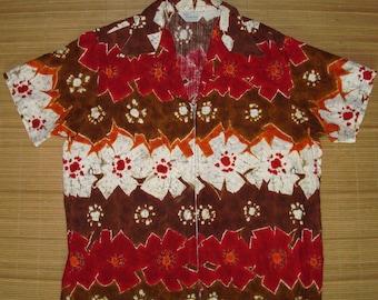 Mens Vintage 60s Sears Tribal Floral Hawaiian Aloha Shirt Jacket - XL -  The Hana Shirt Co