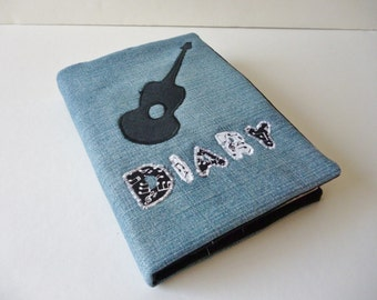2016 Diary - denim cover with black guitar silhouette  - musical notes - acoustic guitar -  recycled materials -