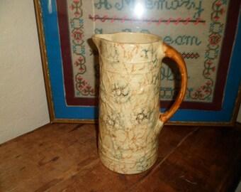 Yellowware Spongeware Pottery Pitcher
