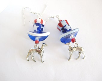 Greyhound 4th of July Earrings