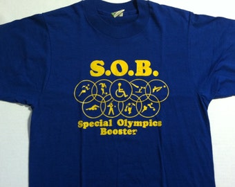 Cute vintage 1980's Special Olympics t-shirt, soft & thin, fits like a small