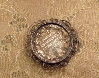 Antique Norwegian Silver Coin Brooch