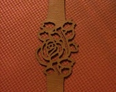 Light brown faux leather cut out flower bracelet