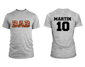Basketball Dad Men Custom T-Shirt With Personalized Child's Name on Back