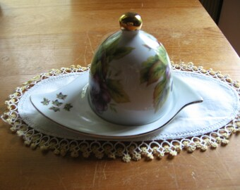 Butter Dish with Grape Motif