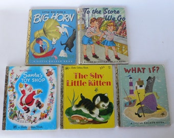 vintage Little Golden Books, group of 4 ,children's story books from Diz Has Neat Stuff