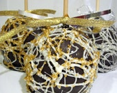 6-Holiday Silver & Gold Festive Chocolate Caramel Apples