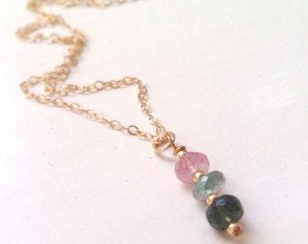 Watermelon Tourmaline Necklace - Gold Filled Jewellery - Gemstone Jewelry - Dainty Chain - Pendant