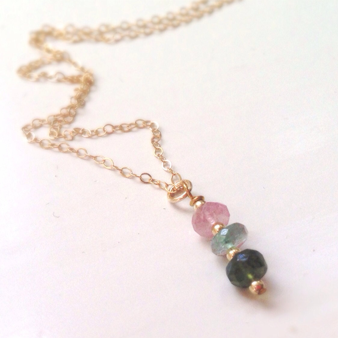 watermelon tourmaline necklace pink green and gold filled
