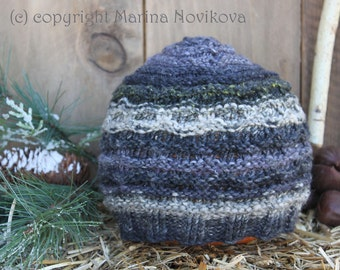 Hand Knitted Noro Yarn Beanie. Unisex from 2 y.o. and up to Teen. Ready to Ship