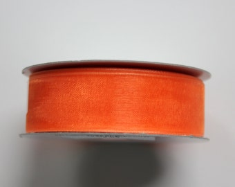 "7/8"" Organza Ribbon - Orange - 25 yds - Whole Spool"