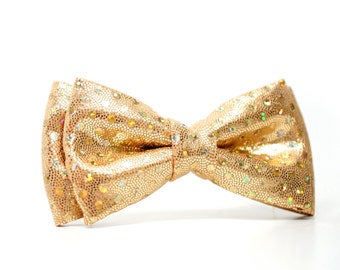 Gold glitter Bow Tie for Boys, Toddlers, Baby - Pre-tied bowtie - ring bearer, wedding day, photo prop, church, party, holiday