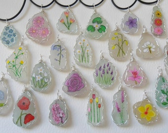 Wire wrapped flower necklaces - hand painted to order on pretty English sea glass - miniature art