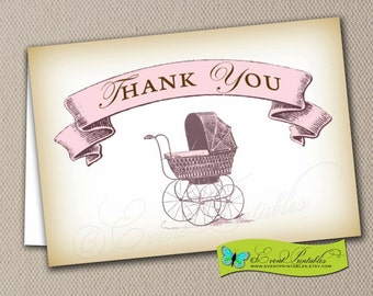 Baby Shower Thank You Card, Folded Notecard A1 Size, Blank Card, Vintage Baby Carriage Pink, Printable Digital File by Event Printables