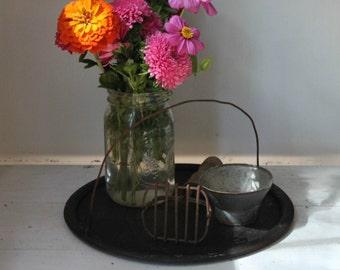 Antique Cast Iron Plate, Tray, Country/Primitive/Farmhouse Home Decor