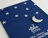 Masculine Valentine's Day Card - I Love You To The Moon And Back Card - Night Blue Card
