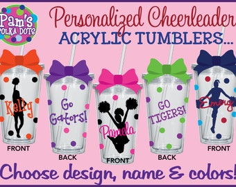 7 Personalized 2-Sided CHEERLEADER Clear ACRYLIC TUMBLERS w/ Name Team Cheerleader Polka Dots Pom Poms Cheerleading Squad Camp