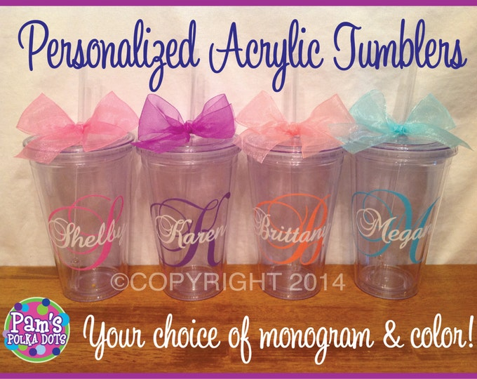 7 Personalized MONOGRAMMED ACRYLIC TUMBLERS with Large Script Initial & Name Over Top Your Choice of Colors and Polka Dots