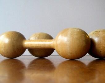 Pair of Vintage Spalding Gold Wooden Barbells / Dumbells