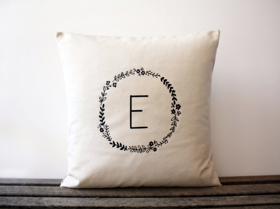 Decorative Initial Pillows : Personalized Initial Floral Wreath Decorative Pillow by AppleWhite