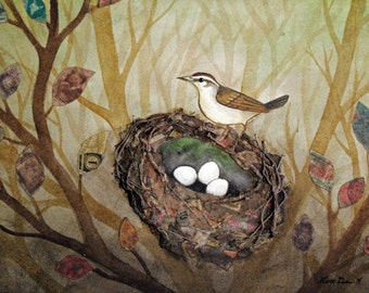 Bird Nest no. 37 Swainson's Warbler Watercolor and Found Object Art Print