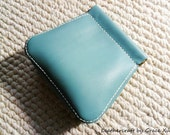 100% hand stitched handmade soft turquoise cowhide leather flex frame pouch / bag for multiple use