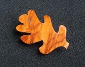 Oak Leaf Brooch - Handmade from Yew wood