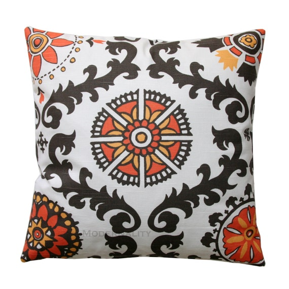 CLEARANCE Sofa Pillows- Premier Prints Chili Pepper Rosa Pillow Cover- 14x14- Zippered Pillow- Orange Cushion Cover- Damask Pillow Case
