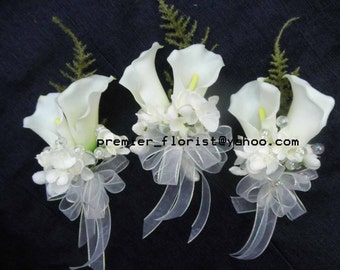 3 pc set: 3 corsages. White Calla Lily Bridal Bride Wedding Corsages. Hand-tied white organza bows. Wedding Silk Flowers Cala Lily