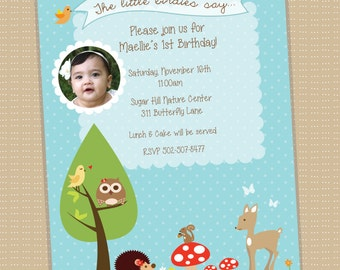Woodland .  Invitation . Optional Photo . Printable