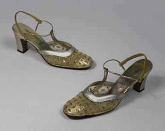Size 6 Gatsby Silver GOLD GLITTER T Strap Bar Dance Mesh Metallic Party Dance Dress Pumps Sparkle Women's Hollywood Regency Deco Round Toe