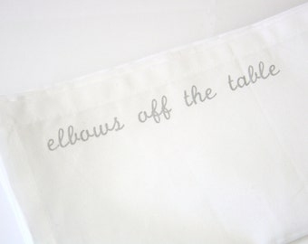 Metallic Silver Manners and Etiquette Cloth Napkins Mind Your Manners set of 4 napkins