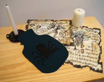 HP Lovecraft Inspired Cthulhu Wool Hot Water Bottle Cover