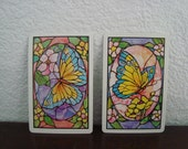 Vintage Playing Cards - Butterflies -  Double Deck Of Playing Cards - Current Inc - Butterfly - 1980 - Ephemera