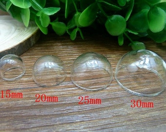 5pcs 25mm Clear Glass Transparent Clear Oblate Cabochon Cameo Cover Cabs