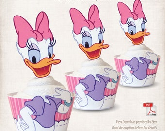 INSTANT DOWNLOAD, Printable Daisy Duck Cupcake Toppers & Wrappers, Digital File, Mickey Mouse Clubhouse, Minnie's Bowtique, Donald Duck