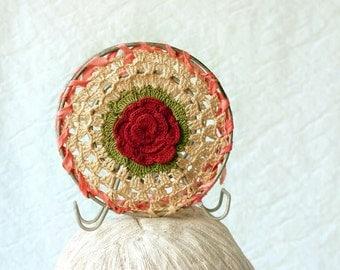 Vintage Crochet napkin holder, red rose cottage chic dining room decor
