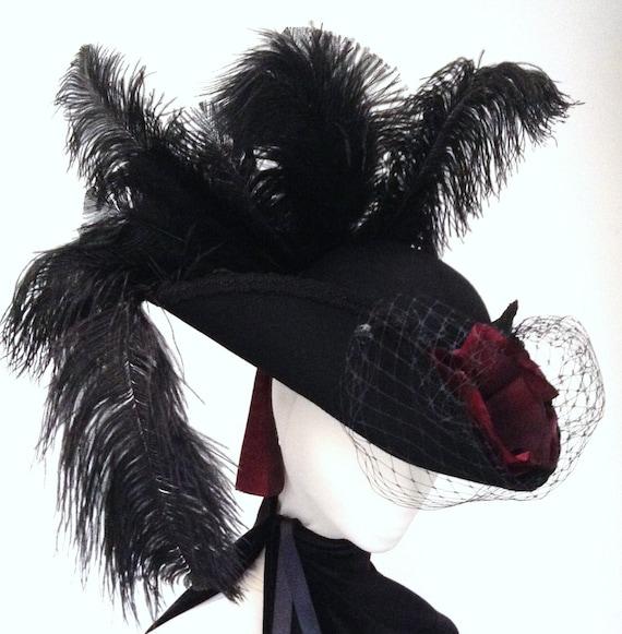 Black & Burgundy Tricorn veiled Hat