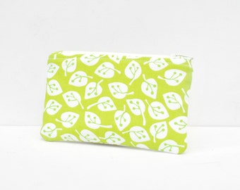 Gadget padded camera pouch protective mini make up bag Ivy leaf leaves print in lime green and white.