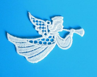 Lace Applique for Crafts or Crazy Quilt - Flying Trumpeting Angel 15
