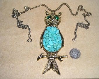Vintage Owl Necklace Articulated Movable Faux Turquoise Rhinestones 1960's Jewelry 7018