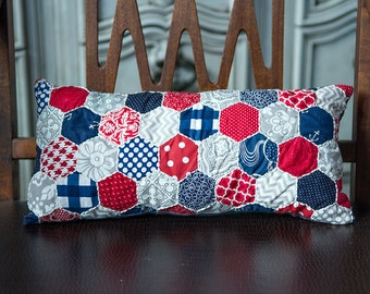 Red Gray and Navy Hand Embroidered Hexagon Lumbar Pillow