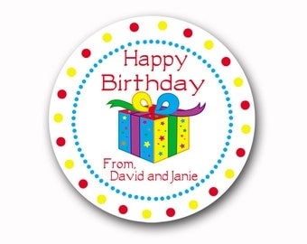 Birthday Gift Stickers Personalized Kids Gift Labels