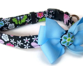 Colorful Modern Floral Dog Collar size Small